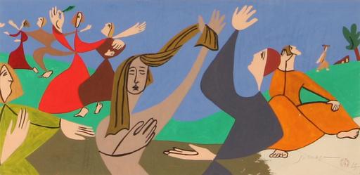 Léopold SURVAGE - Drawing-Watercolor - Dancing girls