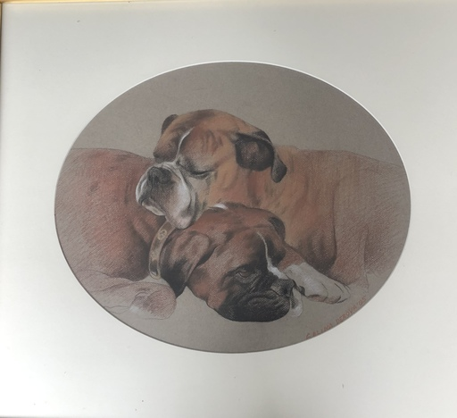 Galina PEROVA - Zeichnung Aquarell - Two resting dogs