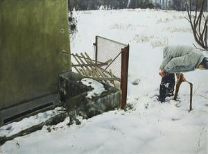 Leopold RABUS - Painting - Deux piquets en bois