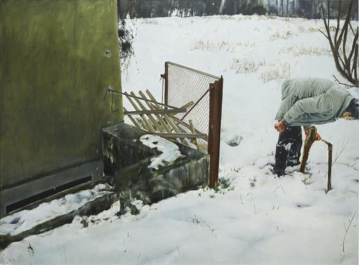 Leopold RABUS - Peinture - Deux piquets en bois