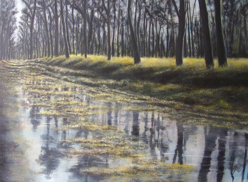 Marlène SKRYERBAK - Peinture - Le chemin inondé