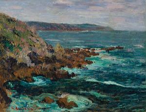 Gustave LOISEAU, ochers dominant la mer en Bretagne, c. 1906