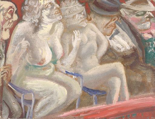 Karl HUBBUCH - Painting - Jeder zeigt, was er hat - Bruno und seine Damen