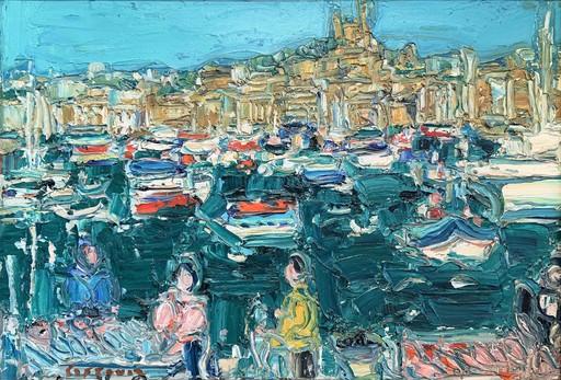 André COTTAVOZ - Pittura - Le Vieux Port, Marseille