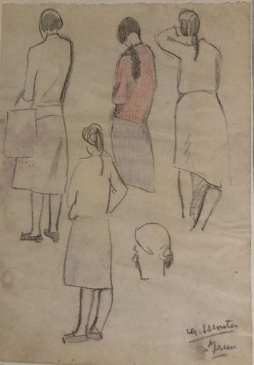"""Gaspar MONTES ITURRIOZ - Drawing-Watercolor - """"Estudio de figuras femeninas"""""""