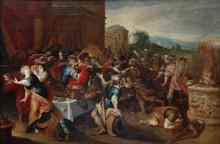 "Frans II FRANCKEN - Painting - ""Pineus disturbs the wedding of Perseus and Andromeda"""