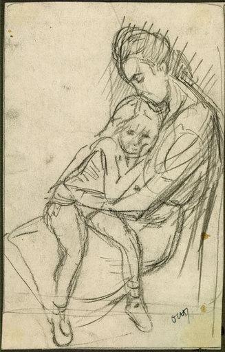 Jacques OCHS - Disegno Acquarello - La mère et l'enfant