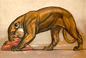 Paul JOUVE - Drawing-Watercolor - Lionne dévorant sa proie