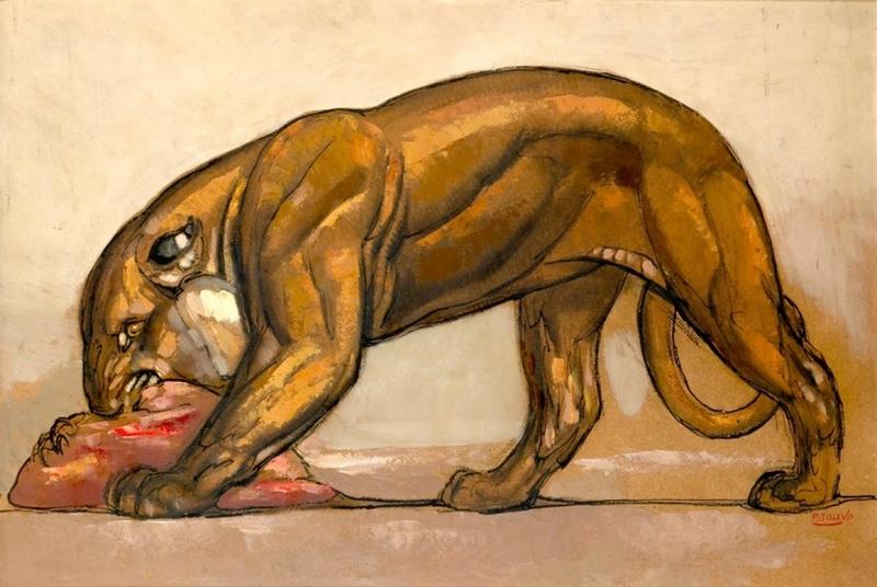 Paul JOUVE - Dessin-Aquarelle - Lionne dévorant sa proie