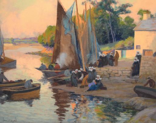 Mathurin JANSSAUD - Dessin-Aquarelle - Concarneau, retour de pêche