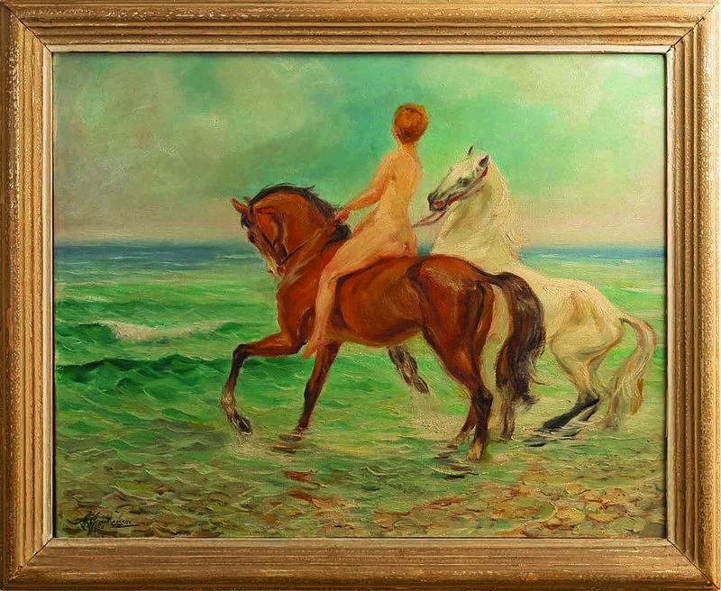 Alexandros ALEXANDRAKIS - Pittura - Nude with horses by the sea