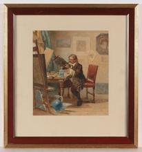 """Johannes VETTEN - Dibujo Acuarela - """"Artist in His Studio"""", Watercolor"""
