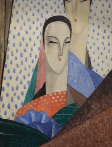 Jean GROTTI - Painting - Femmes aux Longs Cous