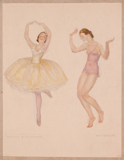 """Franz WINDHAGER - Disegno Acquarello - """"Dancers"""" by Franz Windhager, ca 1930"""