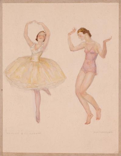 "Franz WINDHAGER - Zeichnung Aquarell - ""Dancers"" by Franz Windhager, ca 1930"