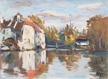 Takanori OGUISS - Painting - Arbres et maisons près d'un étang