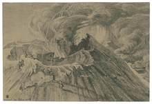Georg Heinrich BUSSE - Dibujo Acuarela - Ausbruch des Ätna am 29. Sept. 1838.