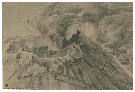Georg Heinrich BUSSE - Disegno Acquarello - Ausbruch des Ätna am 29. Sept. 1838.