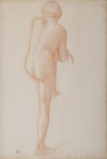 Edgar DEGAS - Drawing-Watercolor - Académie d'homme de dos