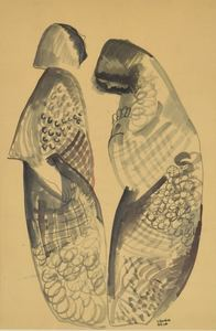 Béla KADAR - Zeichnung Aquarell - Two Figures