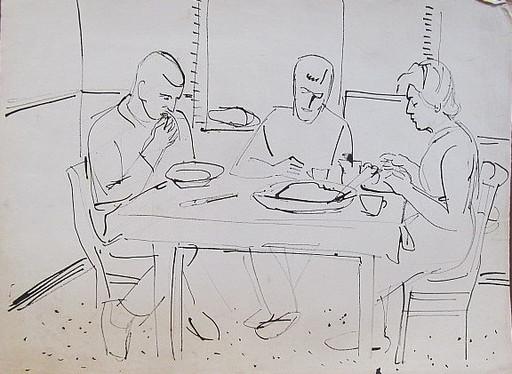 Erich HARTMANN - Disegno Acquarello - #19835: Bei der Mahlzeit.