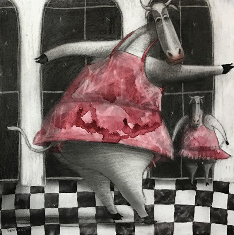 Jorge VALLEJOS - Painting - Vaquita bailando balet III