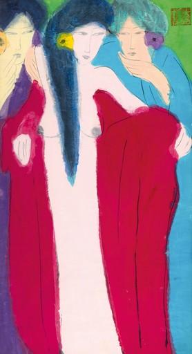 TING Walasse - Pintura - Three Ladies