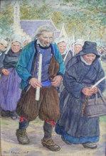 Paul ABRAM - Gemälde - Procession in Brittany