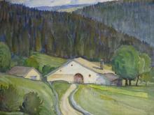 François JACQUES - Drawing-Watercolor - Ferme du Jura