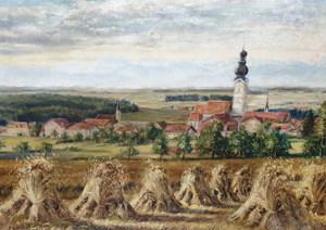 Olof HERMELIN - Gemälde - wheat harvesting