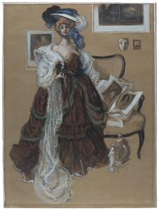 Franz VON BAYROS - Disegno Acquarello - Mondäne Dame in Barock-Kleid.
