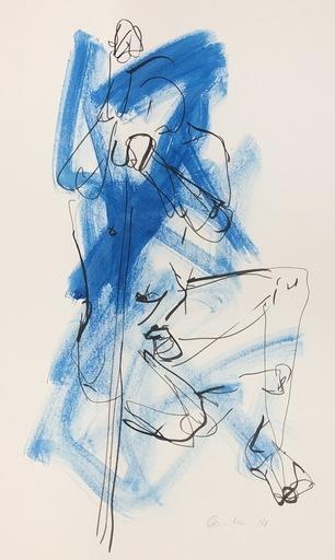 Nicole LEIDENFROST - Zeichnung Aquarell - Akt in blau