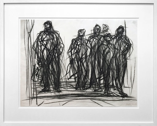 Max UHLIG - Dibujo Acuarela - Die Wartenden