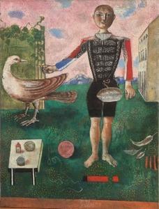 Franco GENTILINI - Peinture - Ragazzo con la piuma