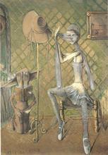 Sergio VACCHI - Painting - La ballerina e il suo sponsor