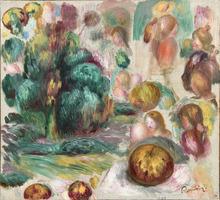 Pierre-Auguste RENOIR - Painting - Têtes, arbres et fruits