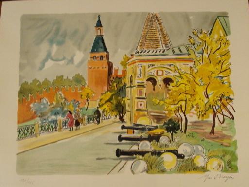 """Yves BRAYER - Grabado - """"Moscou,La térrasse de Basile le Bienheureux""""1976."""