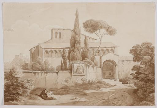 "Constant BOURGEOIS DU CASTELET (Attrib.) - Dessin-Aquarelle - ""Italian Monastery"""