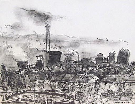 Friedrich EINHOFF - Drawing-Watercolor - #20016: Zeche in Hervest-Dorsten.
