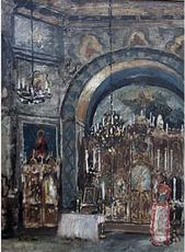 Boris Mikhailovich KUSTODIEV - Painting - A Church Interior