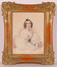 "Karl Friedrich NAUMANN - Miniature - ""Portrait of a Young Lady"", 1838, Watercolor"