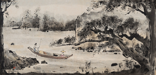 CHEONG Soo Pieng - Drawing-Watercolor - Landscape with Woman Rowing