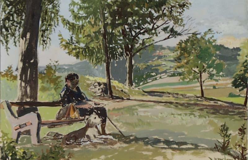 "Hermine FAULHABER - Zeichnung Aquarell - ""Summer Day"" by Hermine Faulhaber, ca 1930"