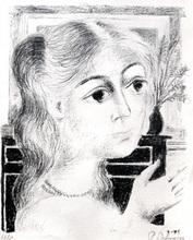 保罗•德尔沃 - 版画 - Jeune fille au collier de perles 1975