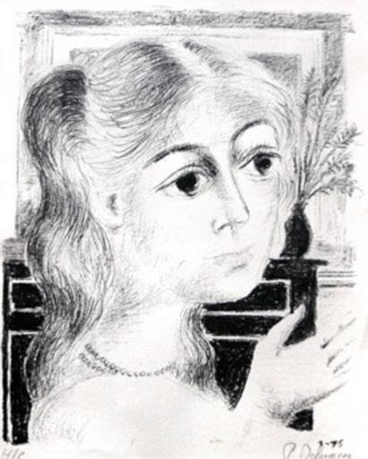 Paul DELVAUX - Grabado - Jeune fille au collier de perles 1975