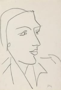 Henri MATISSE - Dessin-Aquarelle - Tête de Profil