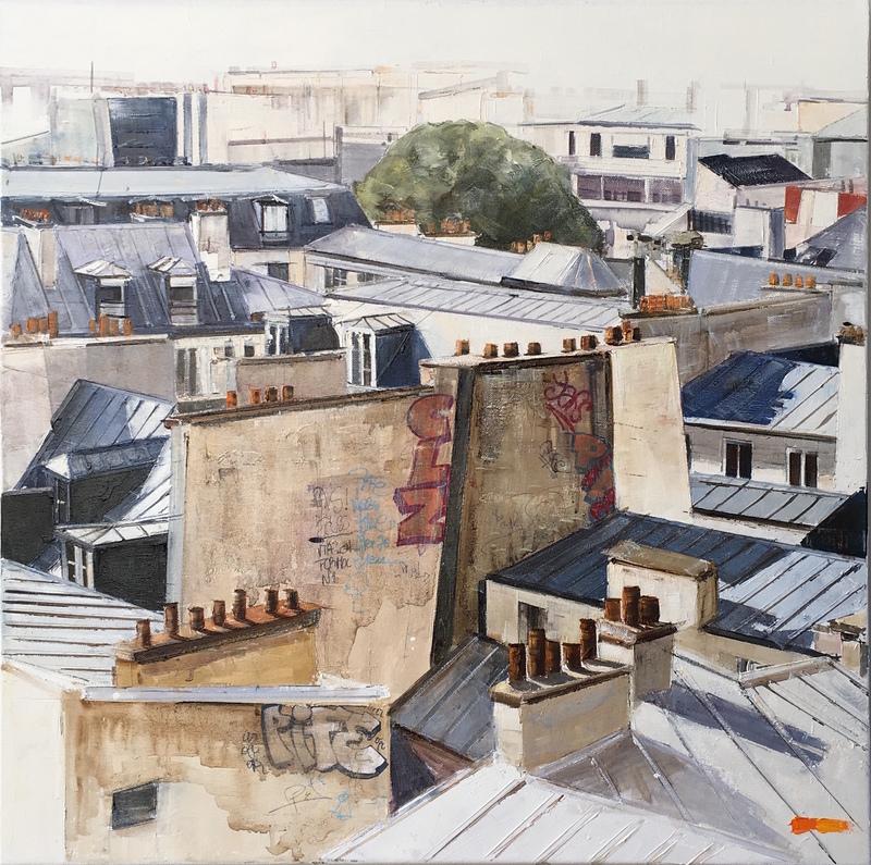 Bernard KOWALCZUK - Pintura - Toits de Paris