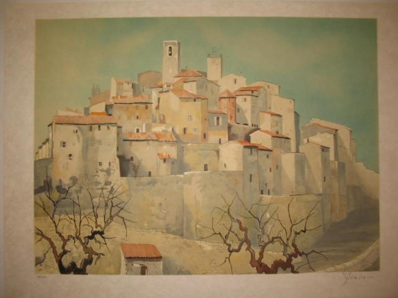 Guy SÉRADOUR - 版画 - Village de Provence,1980.