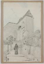 "Eduard VEITH - Dibujo Acuarela - ""Monastery in Klosterneuburg near Vienna"", late 19th Century"
