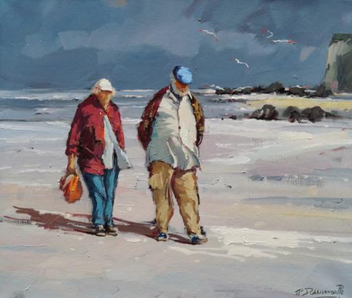 Jean-Pierre DASSONNEVILLE - Peinture - Personnages sur la plage.